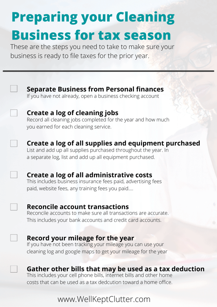 Bookkeeping checklist for maid services