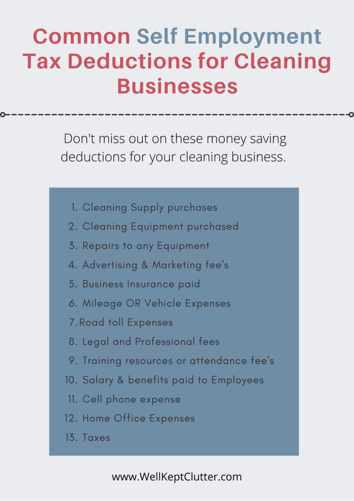 House Cleaning business taxes checklist