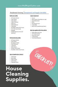 House Cleaning Supplies Checklist
