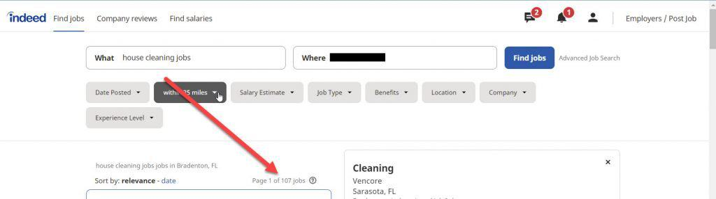 Search for local cleaning jobs on indeed.com