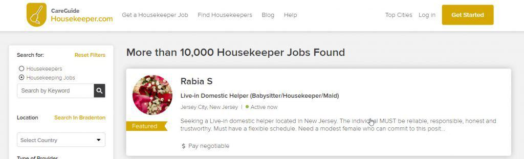 house cleaning jobs on housekeeper.com