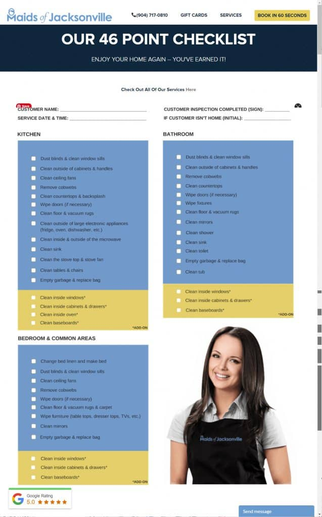 Cleaning Checklist for cleaning services website