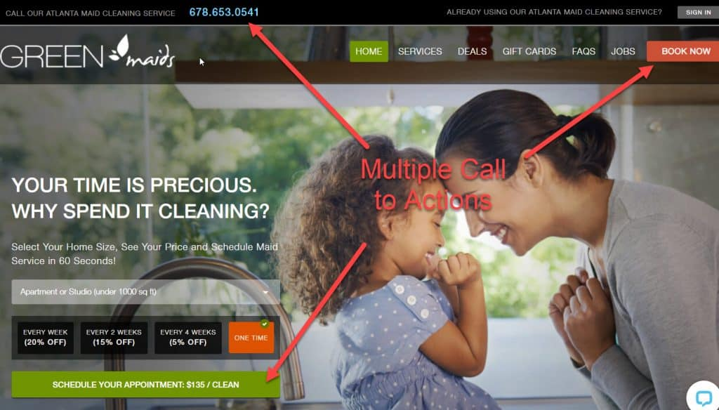 Use multiple Call to actions on your cleaning business website for higher conversion rates.
